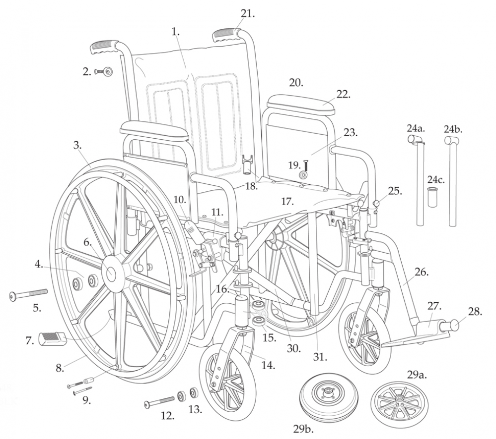 Parts For Bariatric Sentra Ec Heavy-duty Wheelchair With1m parts diagram