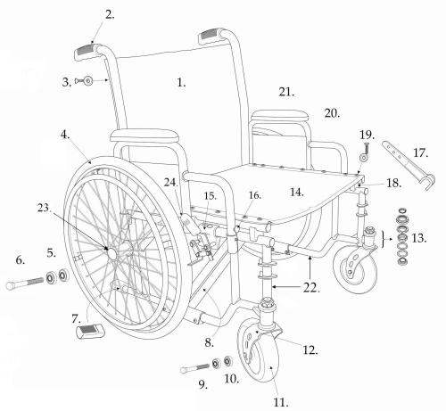 Parts For Bariatric Sentra Ec Heavy-duty, Extra-extra-wide Wheelchair Ecxw parts diagram