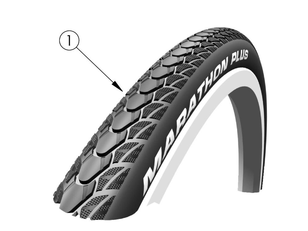 Liberty Ft Schwalbe Marathon Tire parts diagram