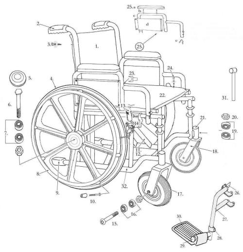 "Parts For Bariatric Sentra Extra-heavy-duty Wheelchair 20"",22"",24"" parts diagram"