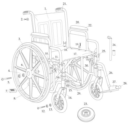 Parts For Bariatric Sentra Ec Heavy-duty Wheelchair With 1y & 1s parts diagram