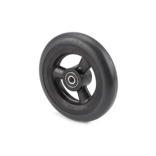 5 x 1 Black 3-Spoke Caster Wheel, Smooth Tire