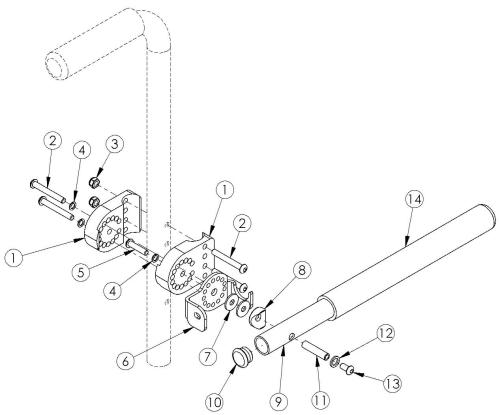 Discontinued Angle Adjustable Non Locking Tubular Flip Up Armrest parts diagram