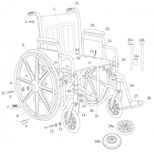 Parts For Bariatric Sentra Ec Heavy-duty Wheelchair With 2a parts diagram