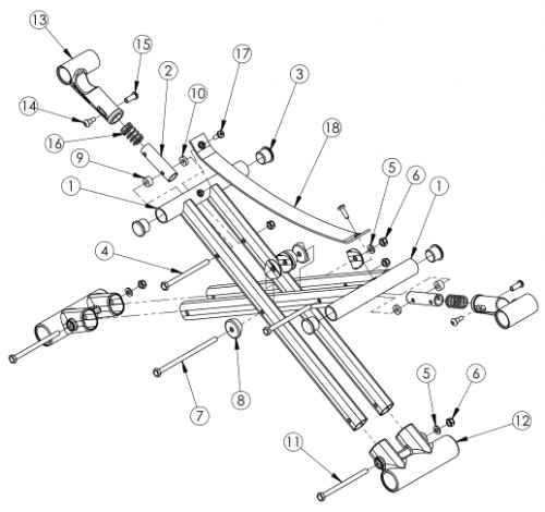 Catalyst 5 Cross Braces - Open Seating (seating System) parts diagram