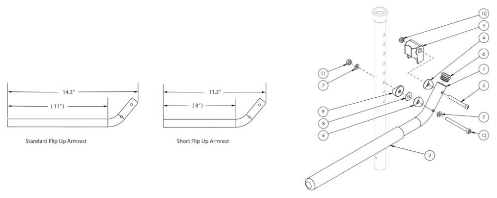 Tubular Flip Up Armrest parts diagram