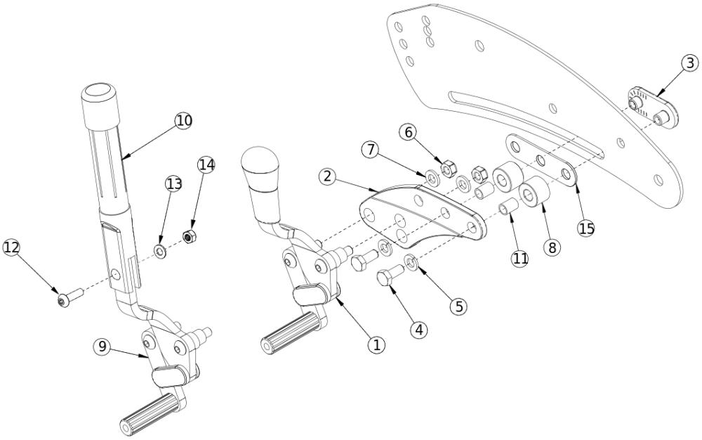 Flip Non-self Propel Push / Pull Wheel Lock parts diagram