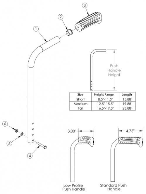 Catalyst Straight Backrest With Push Handle parts diagram