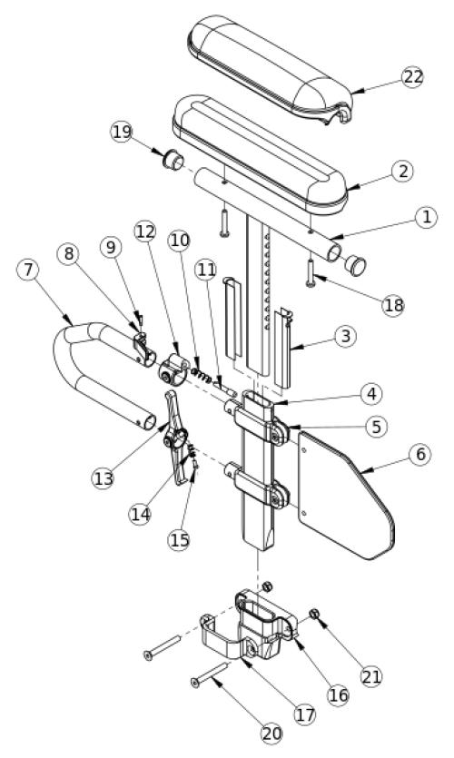 (discontinued) Rigid Height Adjustable T-arm parts diagram