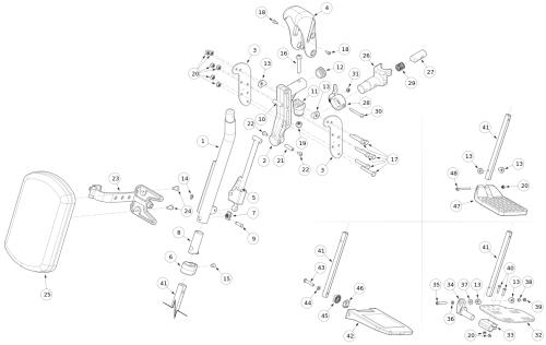 Pro Elevating Leg Rest parts diagram