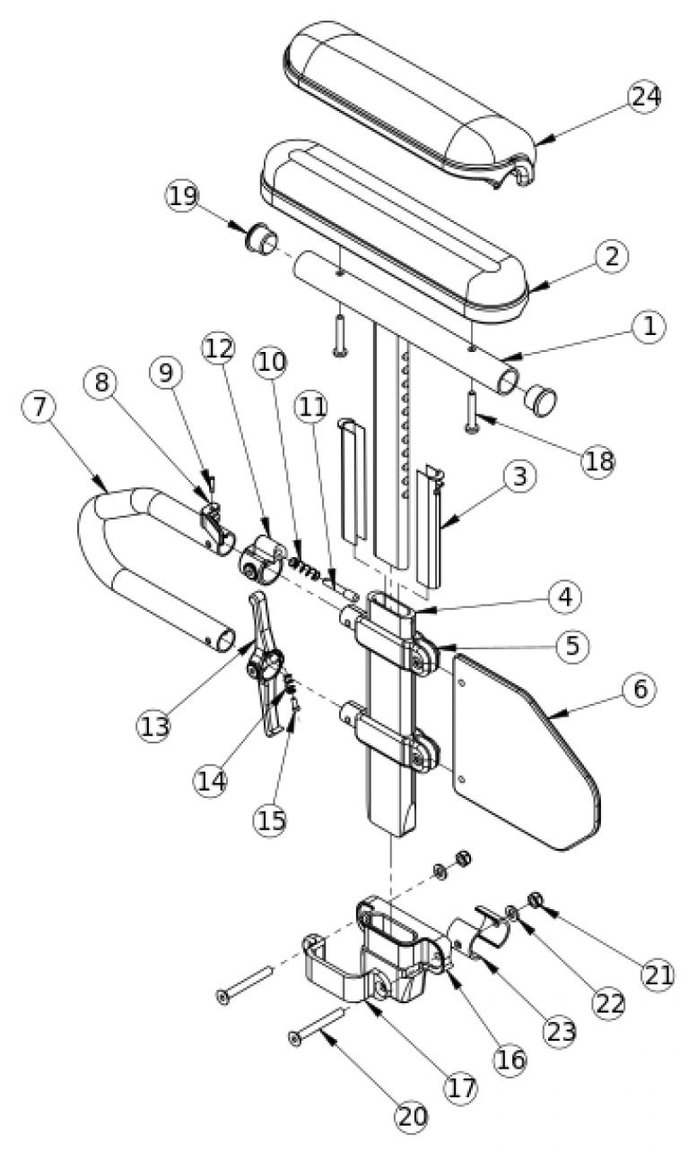 Discontinued Focus Cr Height Adjustable T-arm parts diagram
