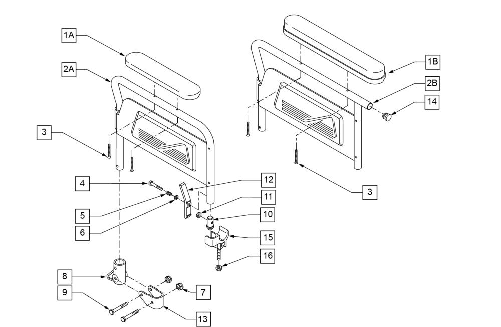 Flip Back Armrest parts diagram