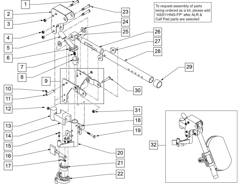 Articulating Hanger parts diagram