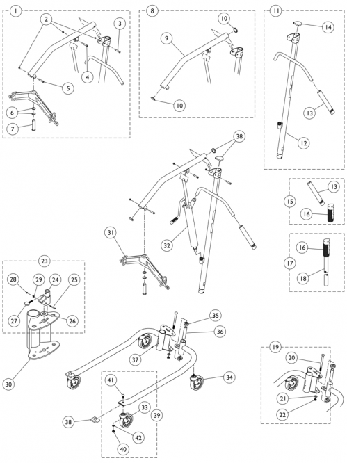 Hydraulic Patient Lift - 9805p parts diagram