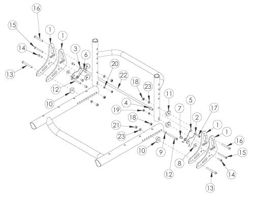 Tsunami Al Heavy Duty Backrest Mount And Hardware parts diagram