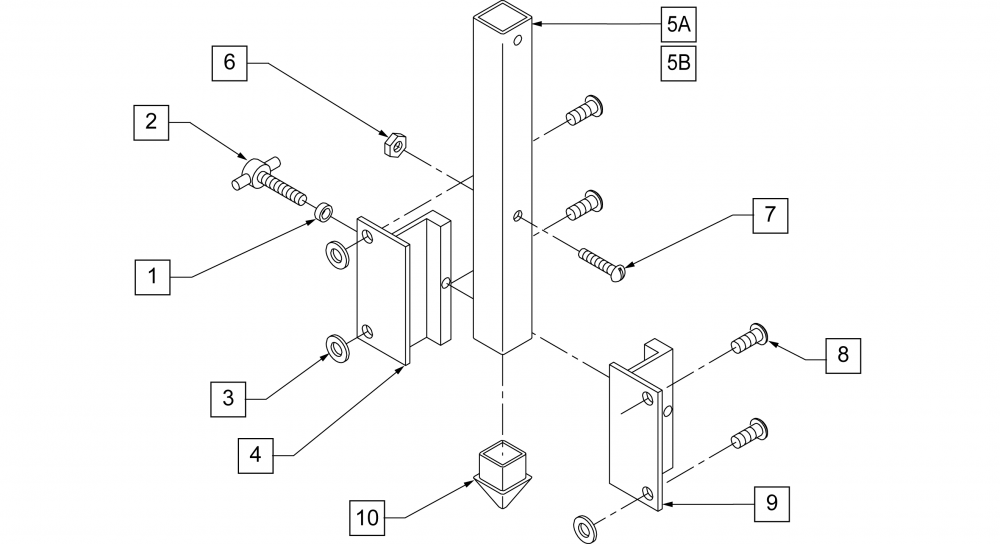 Slide-in Head Support Mounting Hardware parts diagram