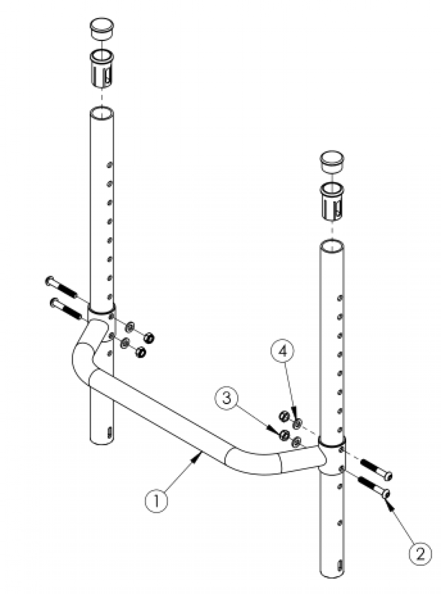 (discontinued) Rogue Fixed Height Backrest With Adjustable Height Rigidizer Bar - Growth parts diagram