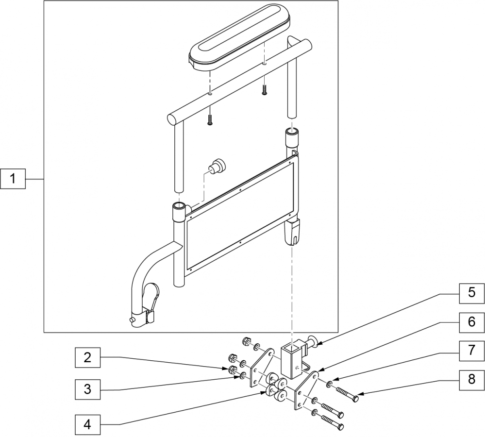 Height-adjustable Armrest Desk Padded (4000) parts diagram