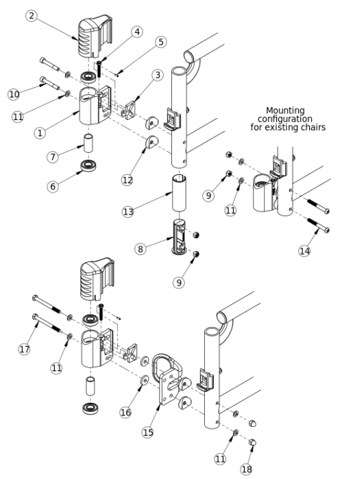 Catalyst 5 Performance Caster Housing For Swing Away Frame parts diagram