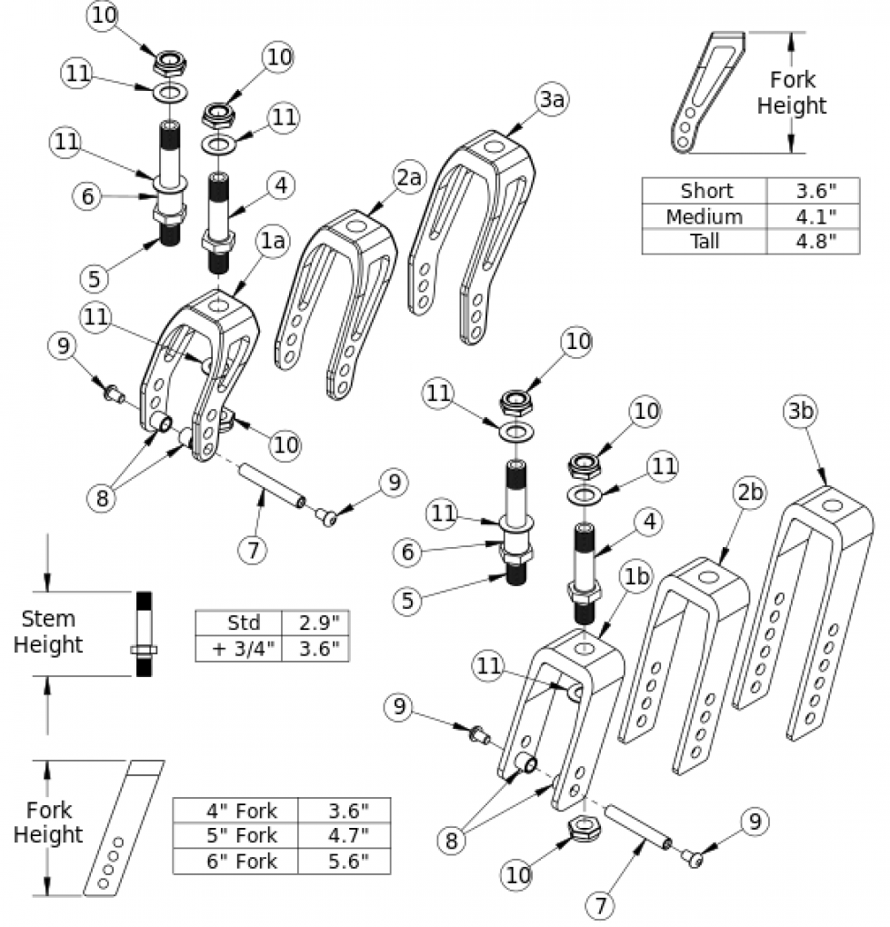 Tsunami Caster Forks And Stems parts diagram