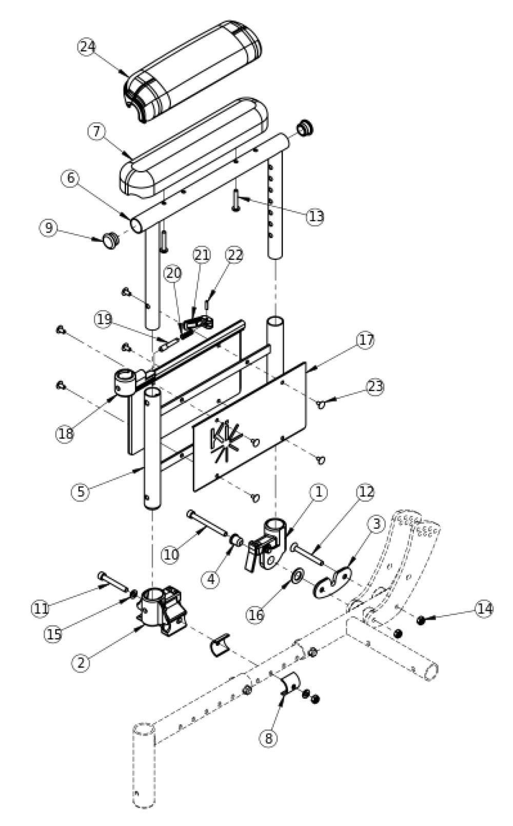 Focus Cr Dual Post Armrest parts diagram