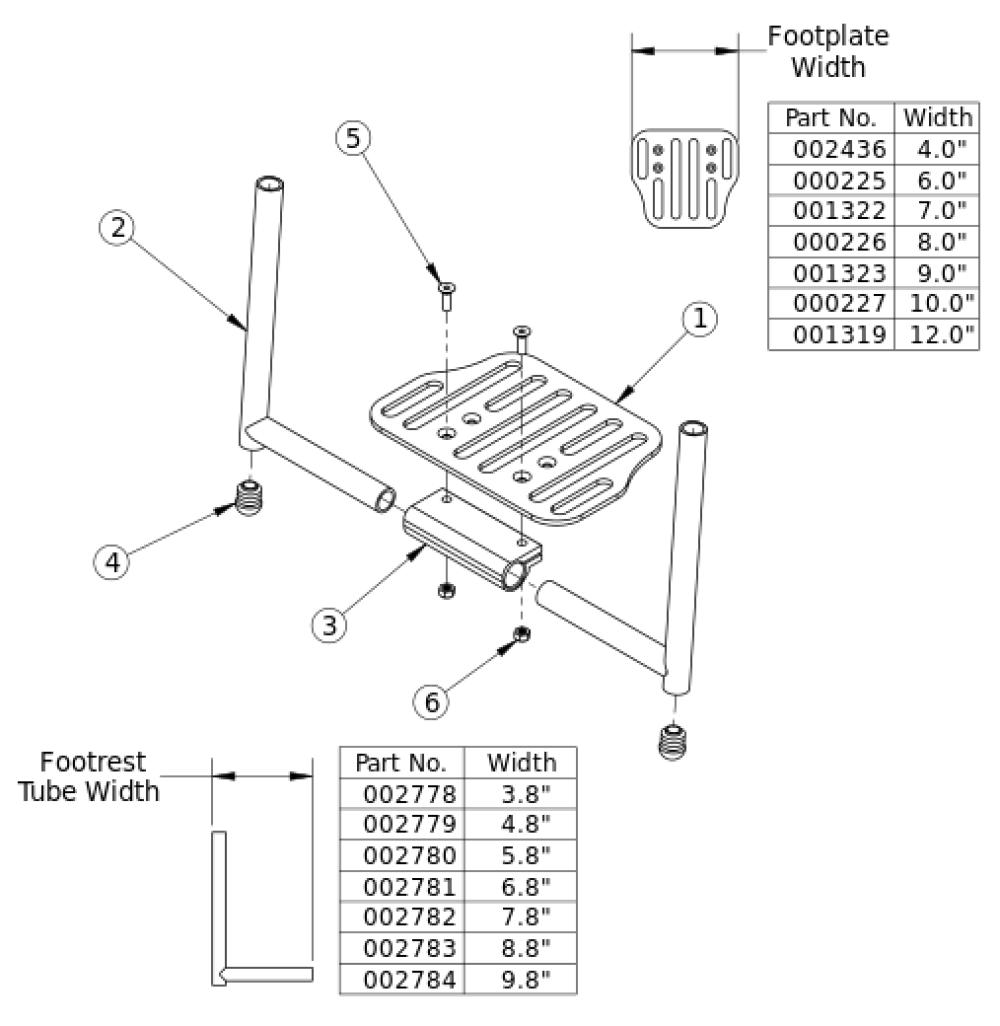 Clik Aluminum Angle Adjustable Footrest parts diagram