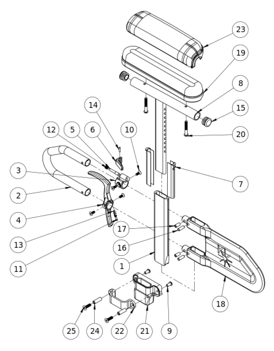 Spark Height Adjustable T-arm parts diagram