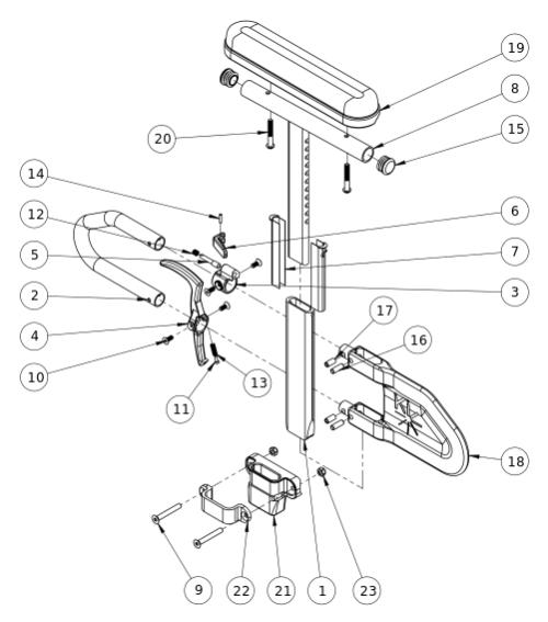 Rigid Height Adjustable T-arm parts diagram