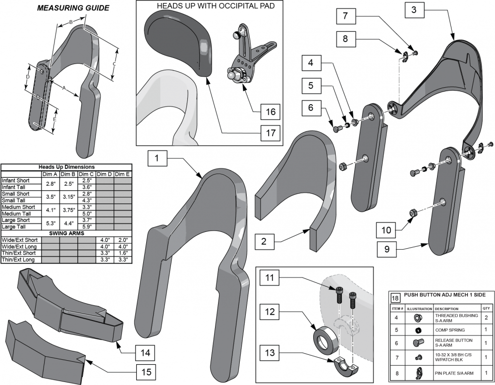 Heads Up parts diagram