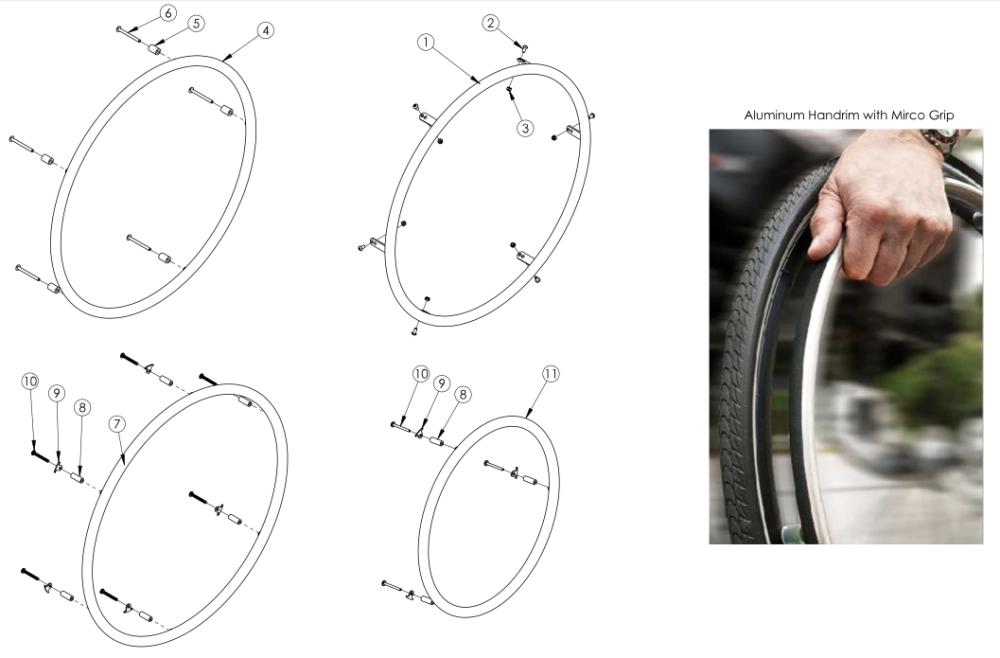 Little Wave Aluminum Anodized Handrim parts diagram