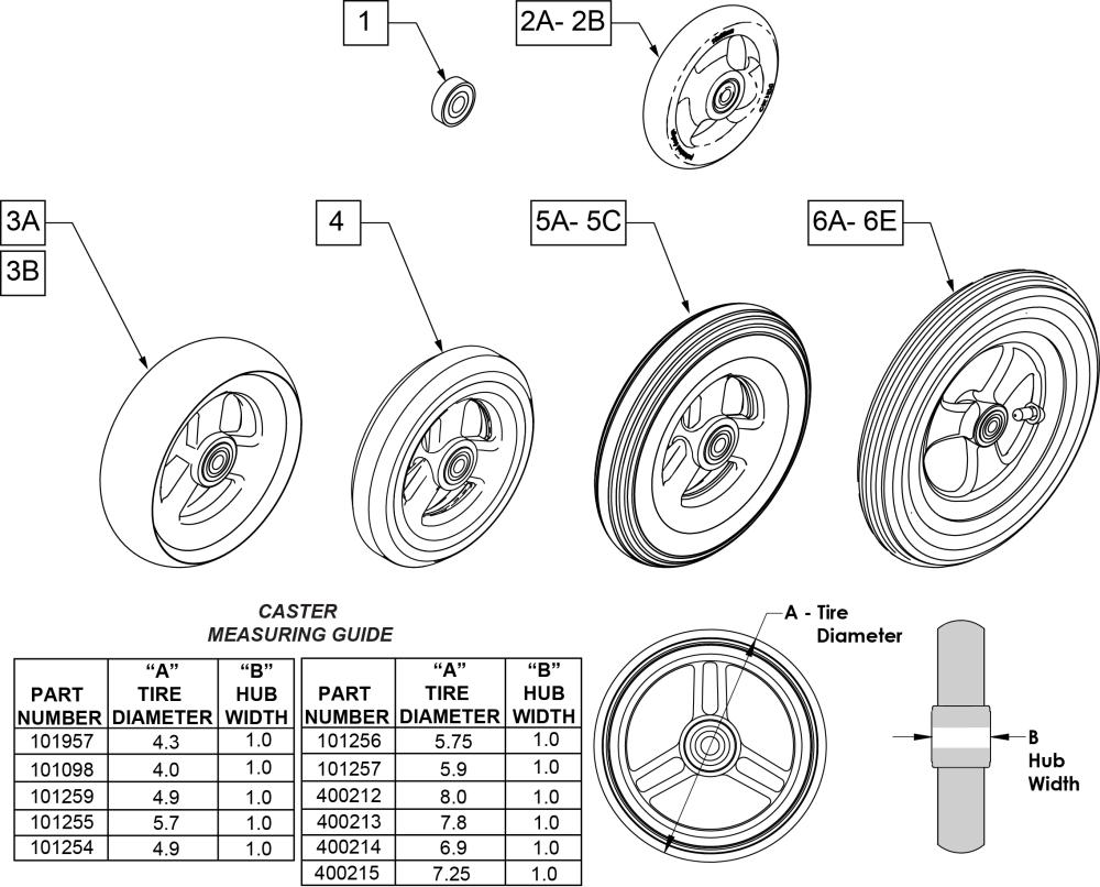 3 Spoke Casters parts diagram