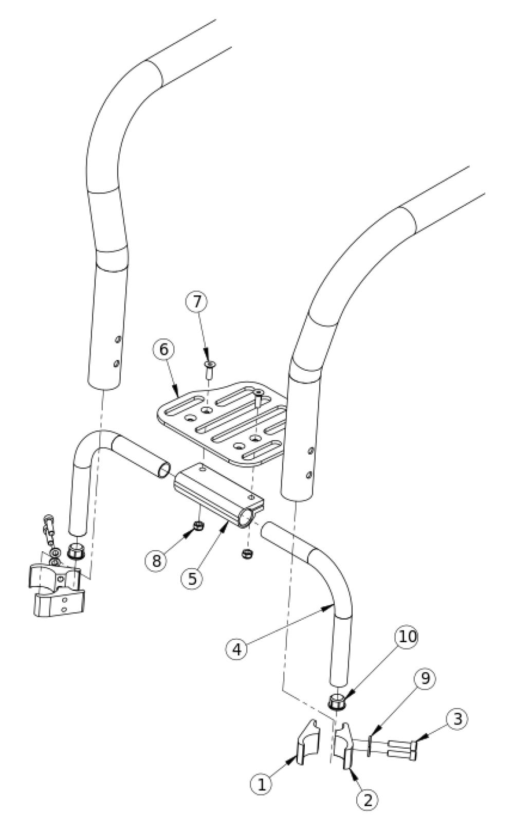 (discontinued) Rigid High Mount Angle Adjustable Footrest 15