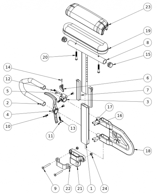 Rogue Xp / Little Wave Xp Height Adjustable T-arm parts diagram