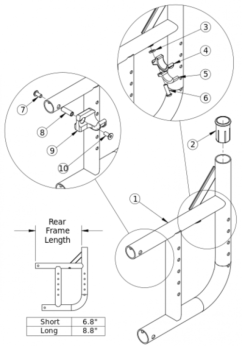 Catalyst 5 Curved Rear Frame parts diagram