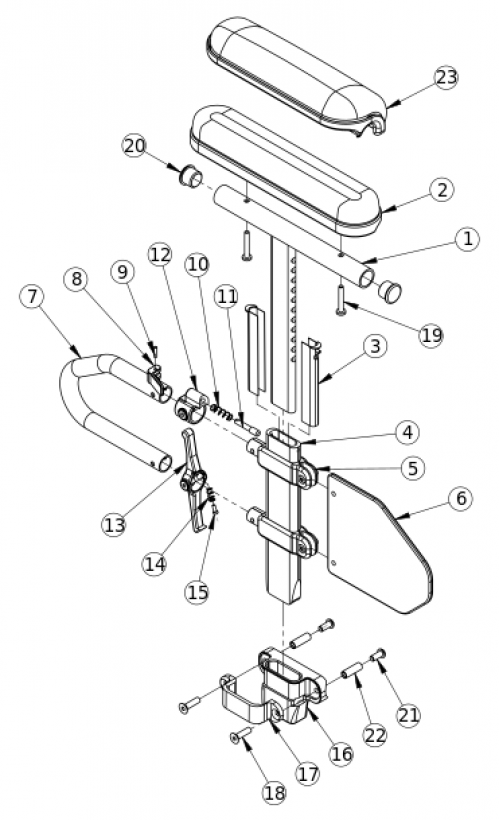Discontinued Catalyst Height Adjustable T-arm parts diagram