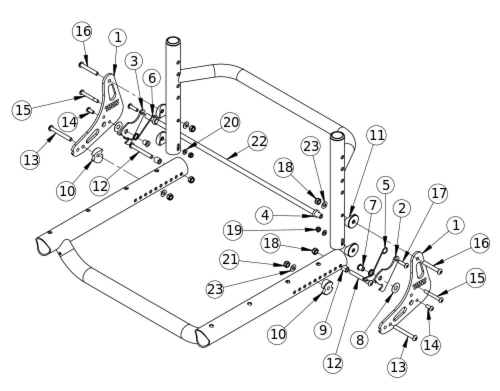Tsunami Al Backrest Mount And Hardware parts diagram