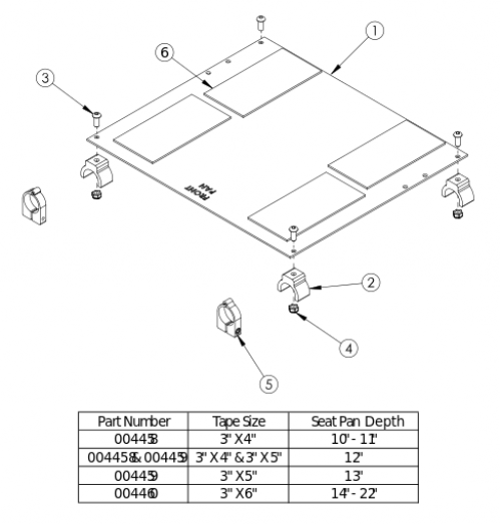 Spark / Catalyst Aluminum Seat Pan parts diagram