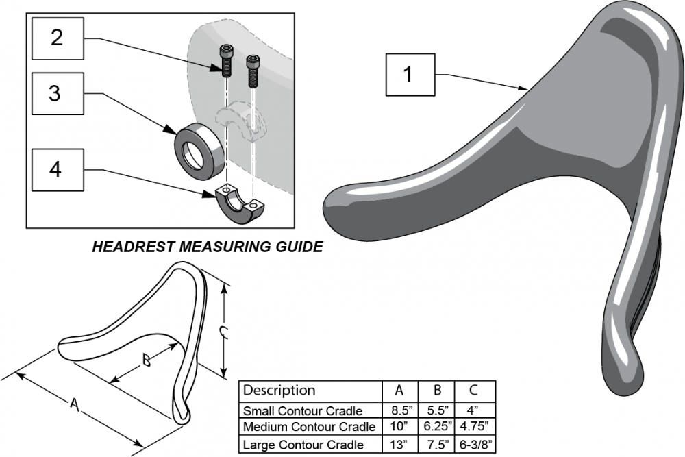 Contour Cradle Headrest Pad parts diagram