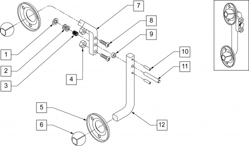 Rotational Headrest 4-pad Lateral Quick Release Rod parts diagram