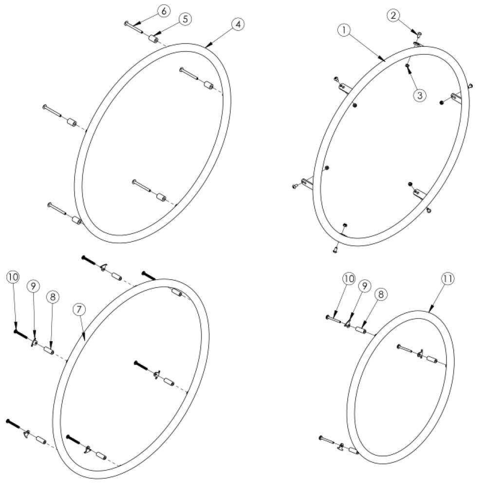 Little Wave Plastic Coated Handrim parts diagram