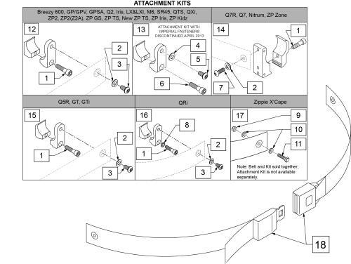 Auto Buckle Positioning Belt & Attachment Kits parts diagram