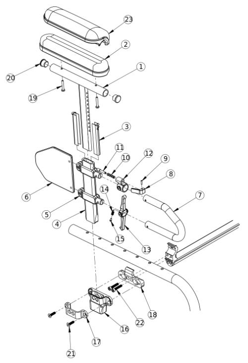 Discontinued Clik Height Adjustable T-arm parts diagram