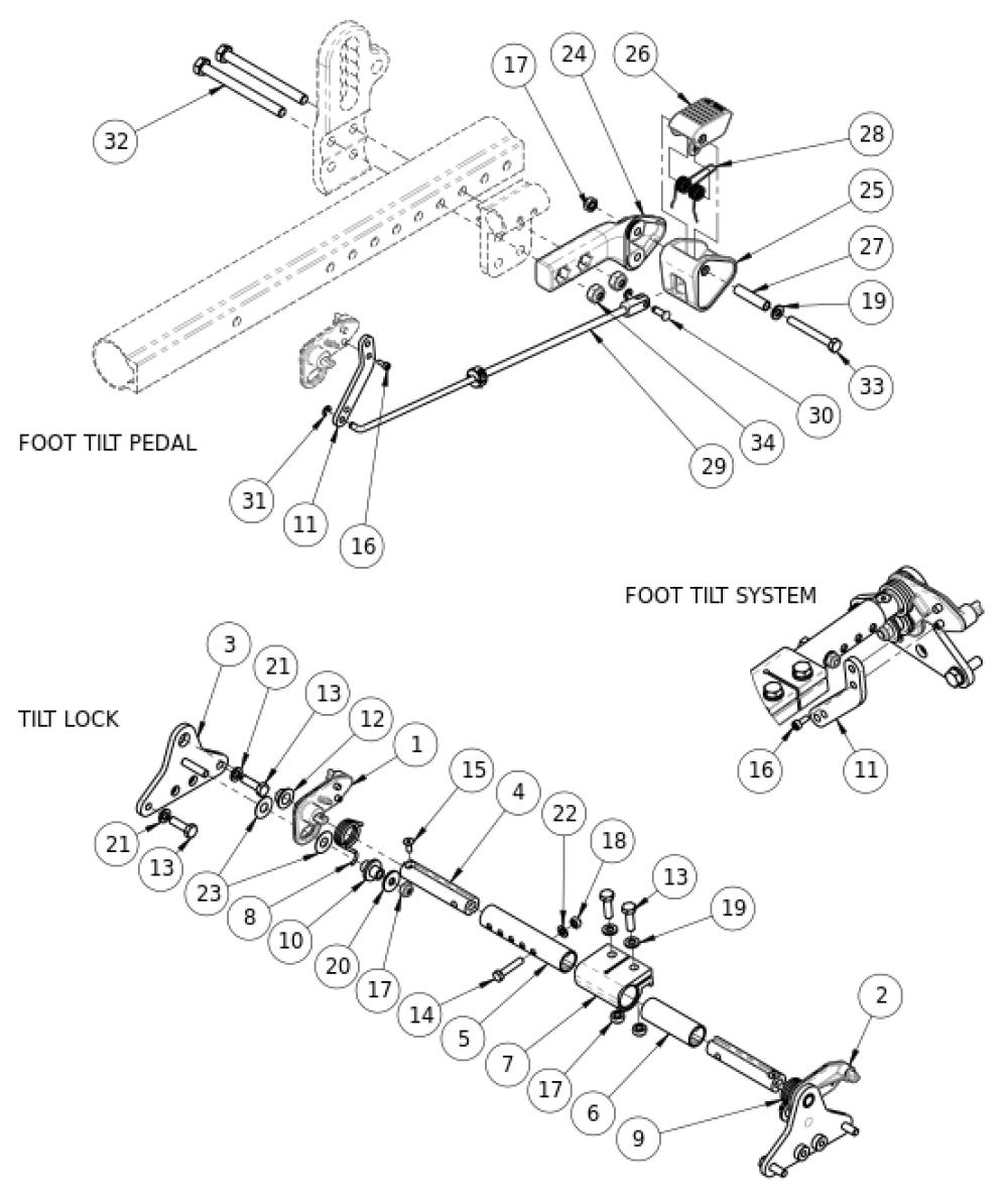 (discontinued 1) Focus Cr Foot Tilt Mechanism parts diagram