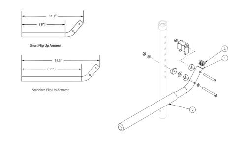 Tubular Flip Up Armrest - Growth parts diagram