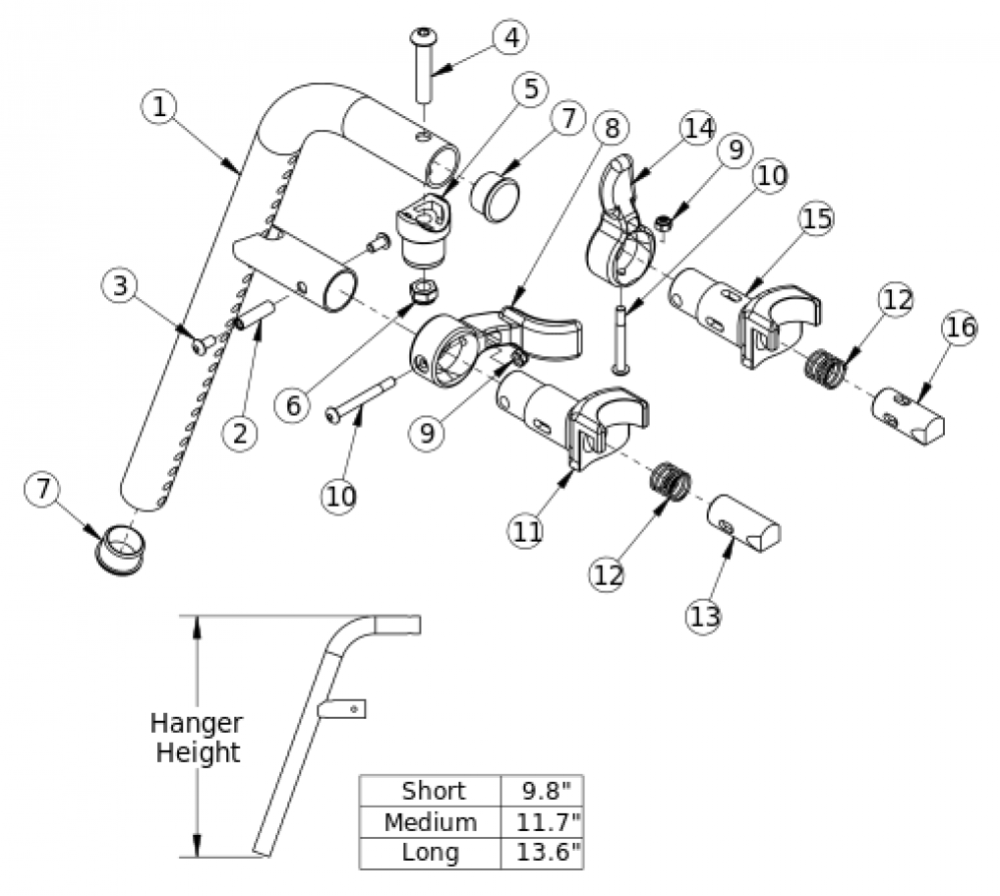 70 Degree Front Mount Hanger parts diagram