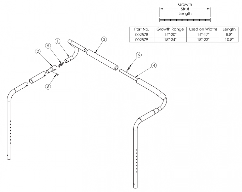 Focus Cr / Liberty Removable Stroller Handle parts diagram