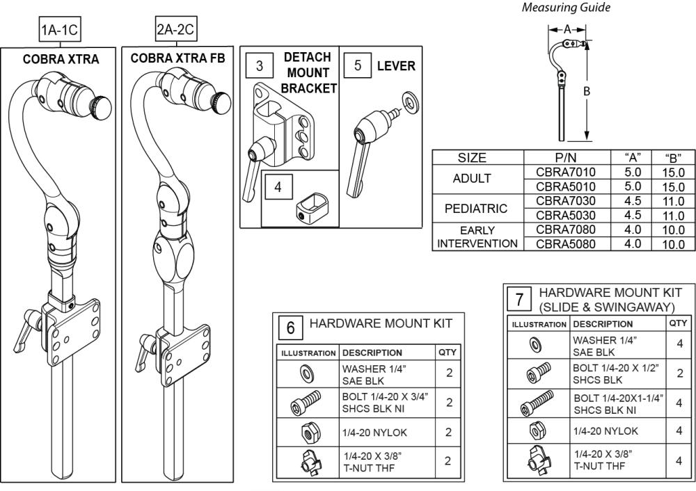 Cobra Headrest parts diagram