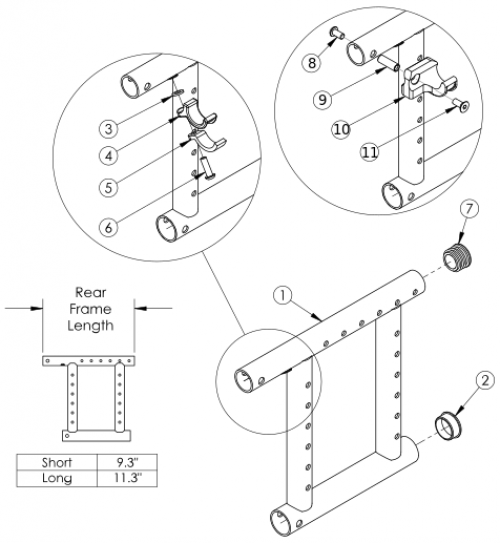 Catalyst 5 Reclining Rear Frame parts diagram