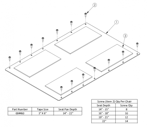 Rogue Aluminum Seat Pan - Growth parts diagram