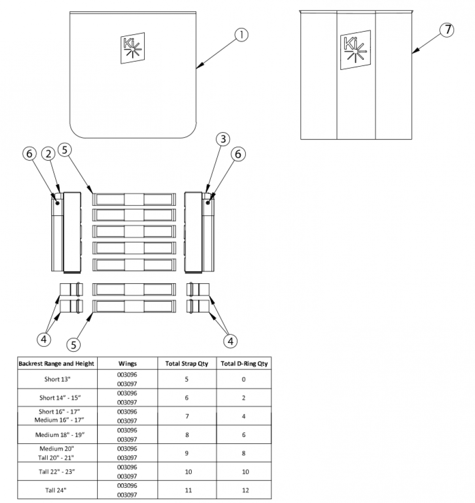 Catalyst Tension Adjustable Back Upholstery - Height Adjustable Depth Adjustable Backposts parts diagram